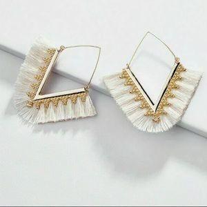 Ingrid White V Tassel Statement Earrings